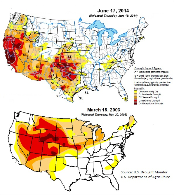 Drought map 1 -- 6-23-14